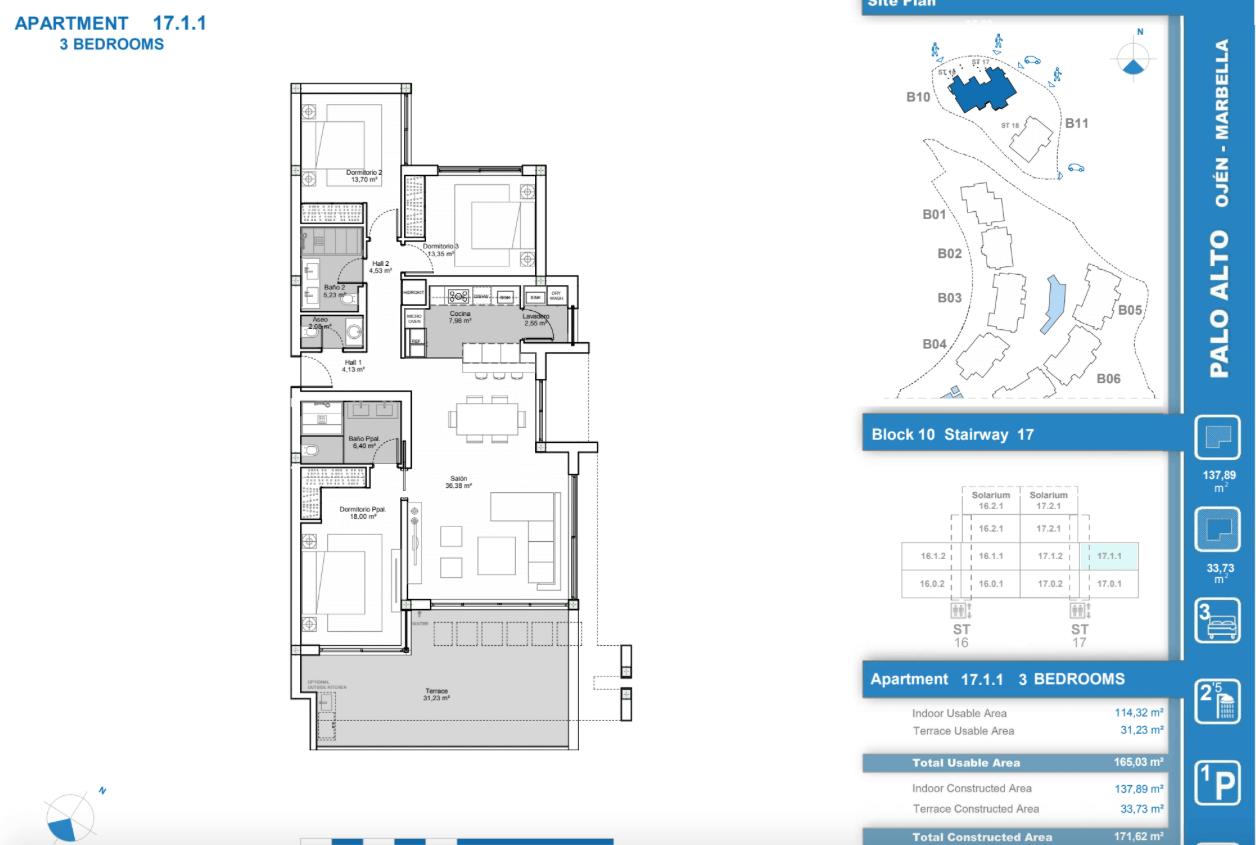palo alto ojen marbella nieuwbouw resort luxe te koop appartement penthouse modern grondplan los almendros II slaapkamers 3 tussenverdieping