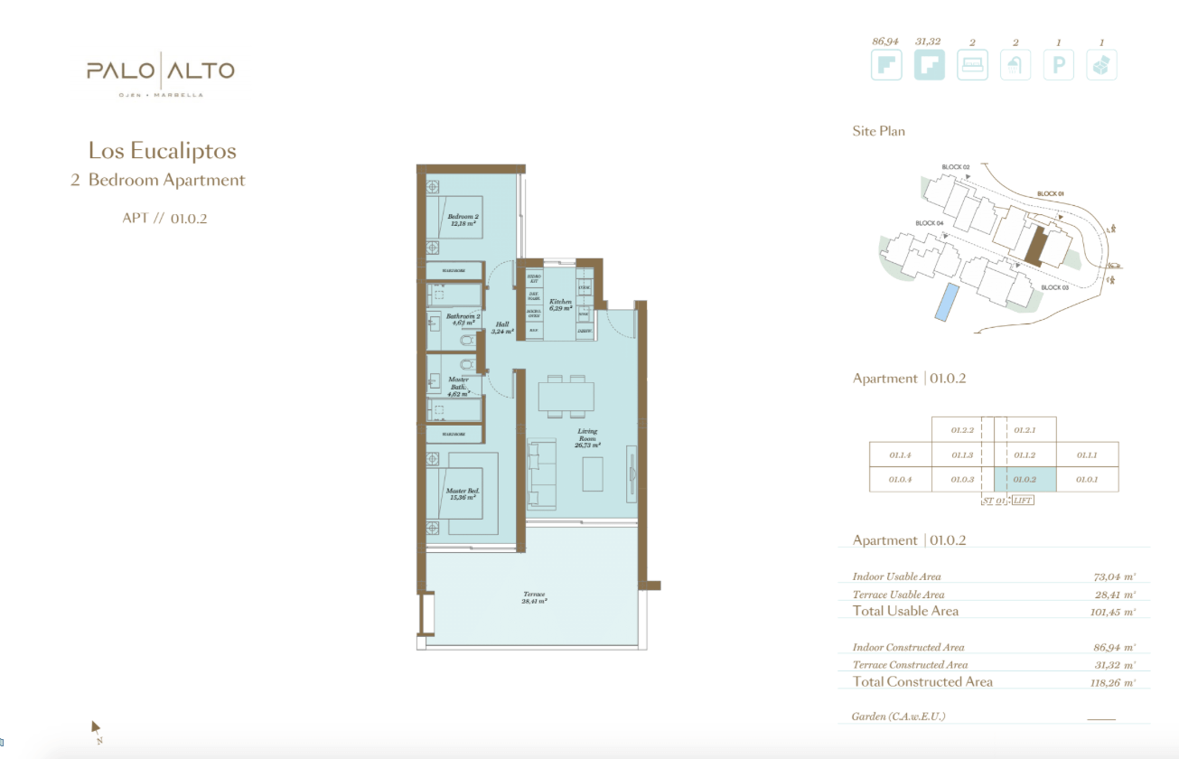 palo alto ojen marbella nieuwbouw resort luxe te koop appartement penthouse modern grondplan los eucaliptos slaapkamers 2