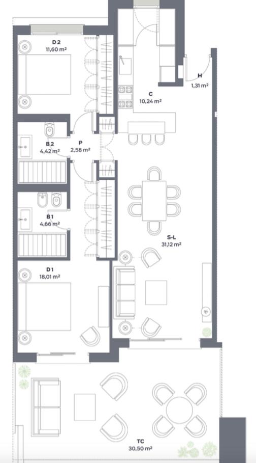 vanian green selwo new golden mile appartement kopen grondplan slaapkamers 2 lang