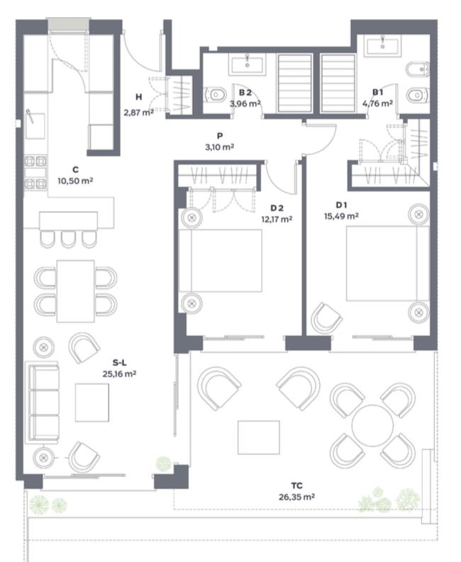 vanian green selwo new golden mile appartement kopen grondplan slaapkamers 2