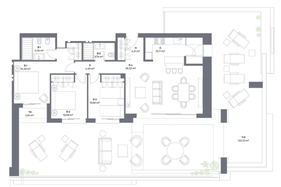 vanian green selwo new golden mile appartement kopen grondplan slaapkamers 3 terras