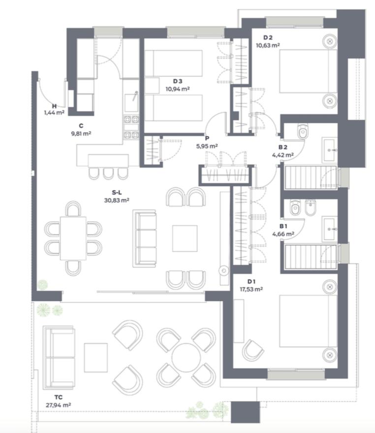 vanian green selwo new golden mile appartement kopen grondplan slaapkamers 3