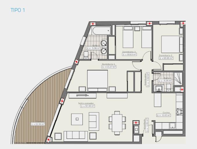 infinity modern appartement kopen estepona grondplan type1