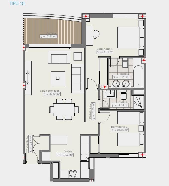 infinity modern appartement kopen estepona grondplan type10