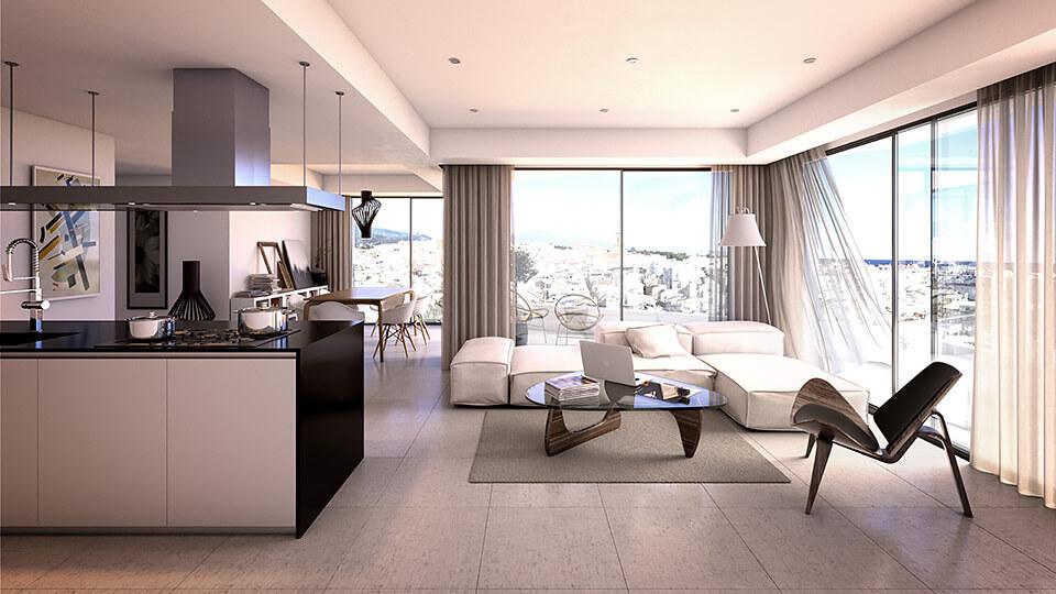 infinity modern appartement kopen estepona leefruimte