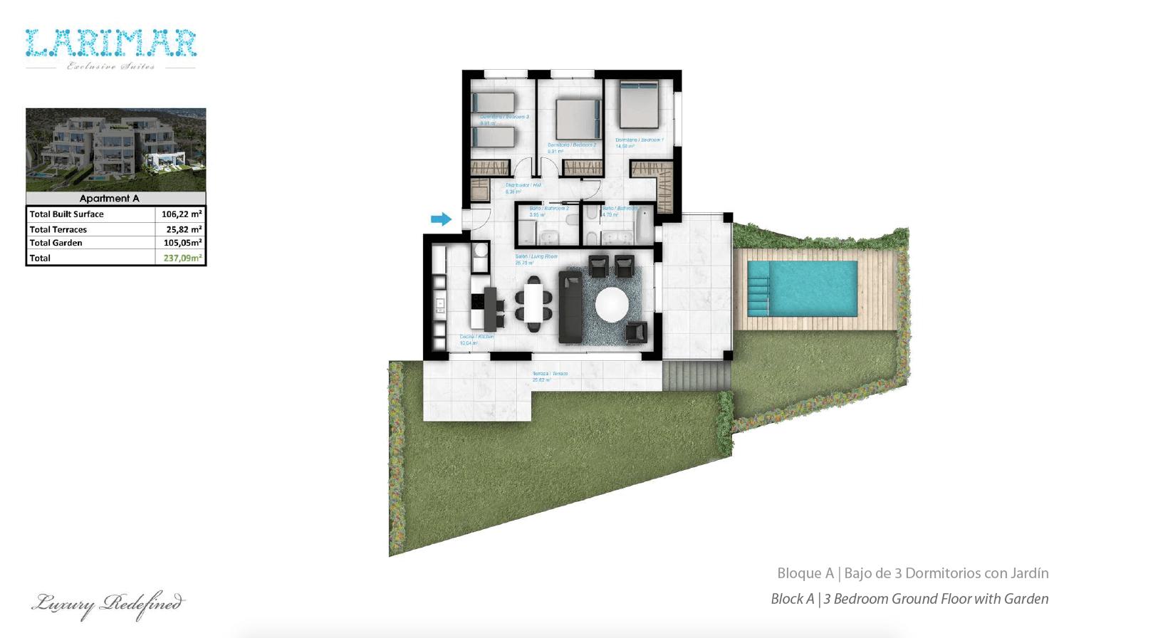Larimar Las Lagunas de Mijas luxe appartementen te koop zeezicht grondplan gelijkvloers A