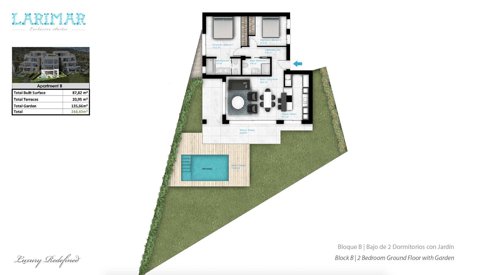 Larimar Las Lagunas de Mijas luxe appartementen te koop zeezicht grondplan gelijkvloers B