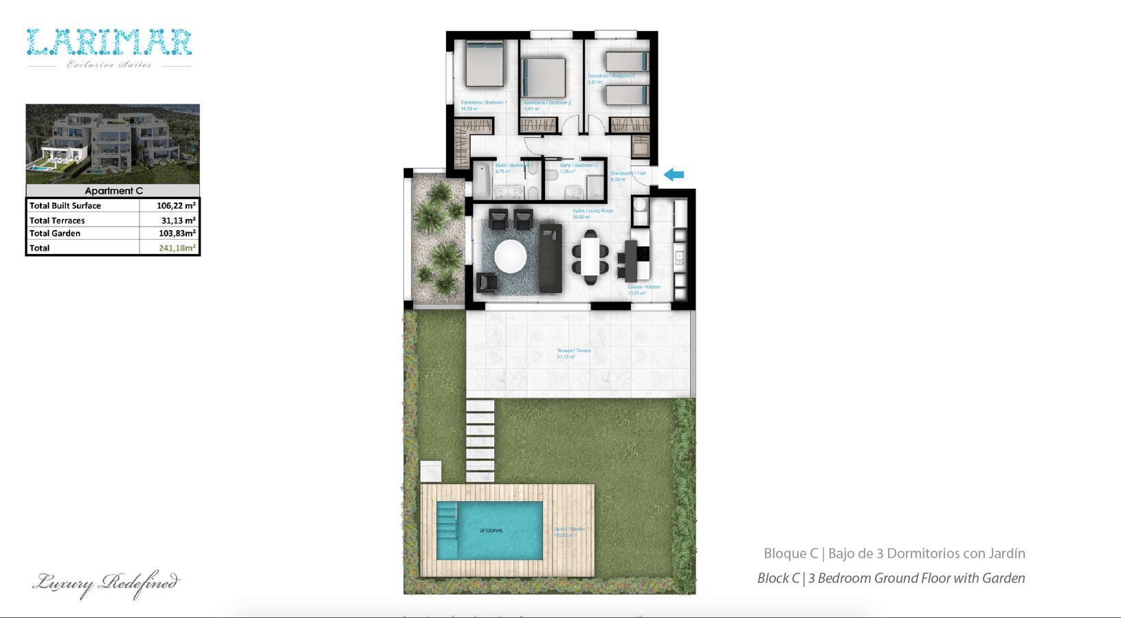 Larimar Las Lagunas de Mijas luxe appartementen te koop zeezicht grondplan gelijkvloers C
