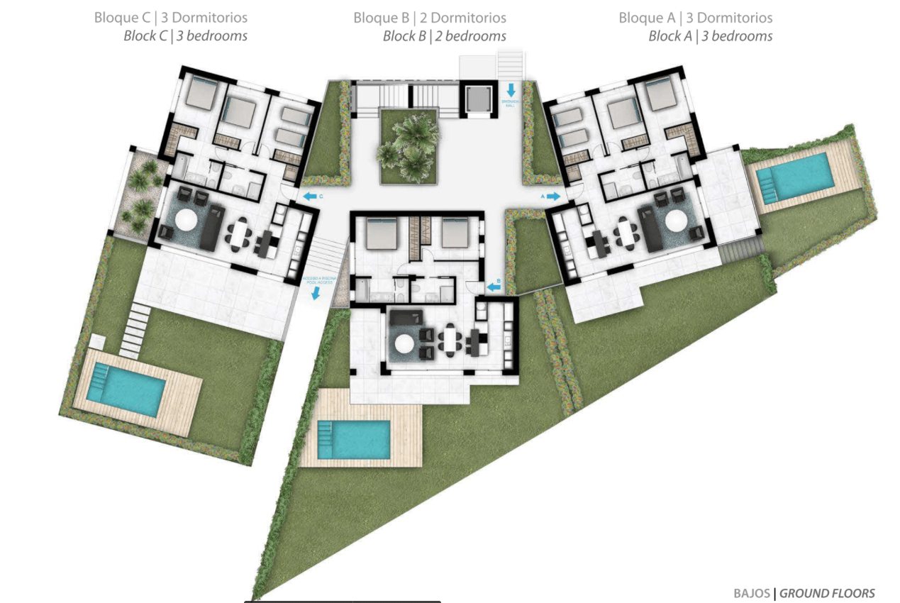 Larimar Las Lagunas de Mijas luxe appartementen te koop zeezicht grondplan gelijkvloers tuinen