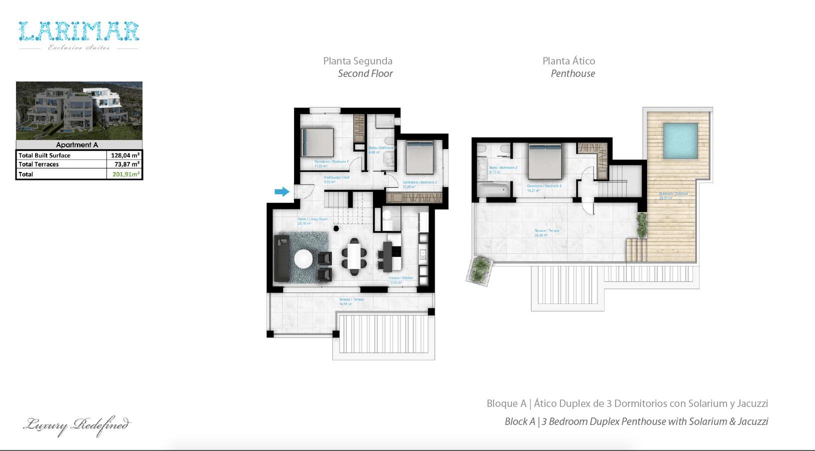 Larimar Las Lagunas de Mijas luxe appartementen te koop zeezicht grondplan penthouse A