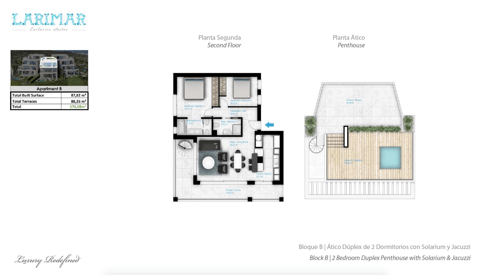 Larimar Las Lagunas de Mijas luxe appartementen te koop zeezicht grondplan penthouse B