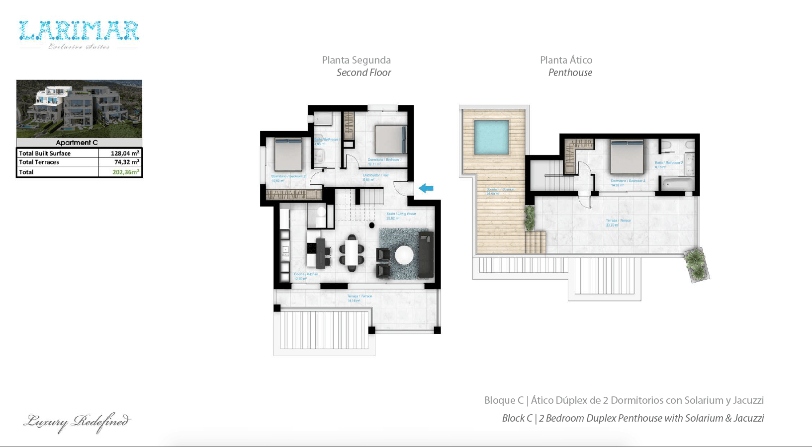 Larimar Las Lagunas de Mijas luxe appartementen te koop zeezicht grondplan penthouse C