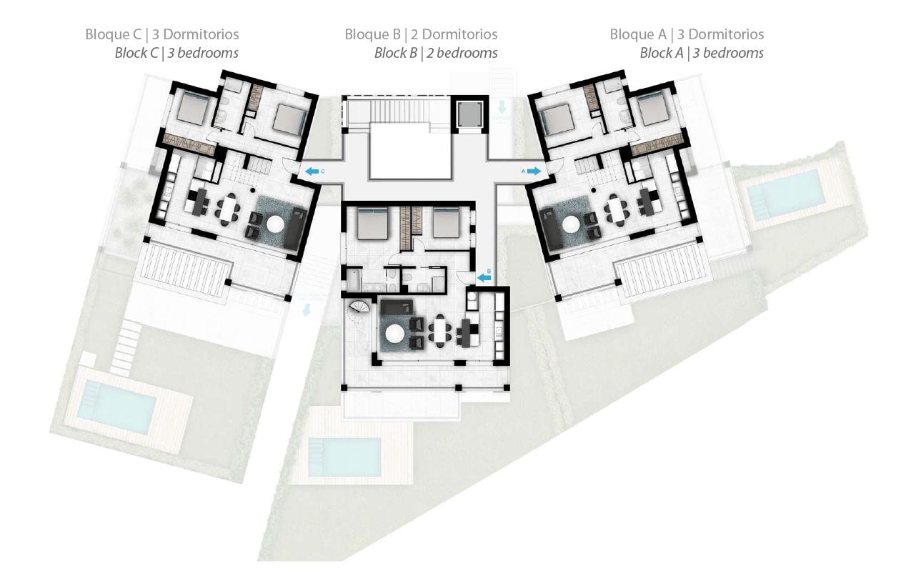 Larimar Las Lagunas de Mijas luxe appartementen te koop zeezicht grondplan penthouses