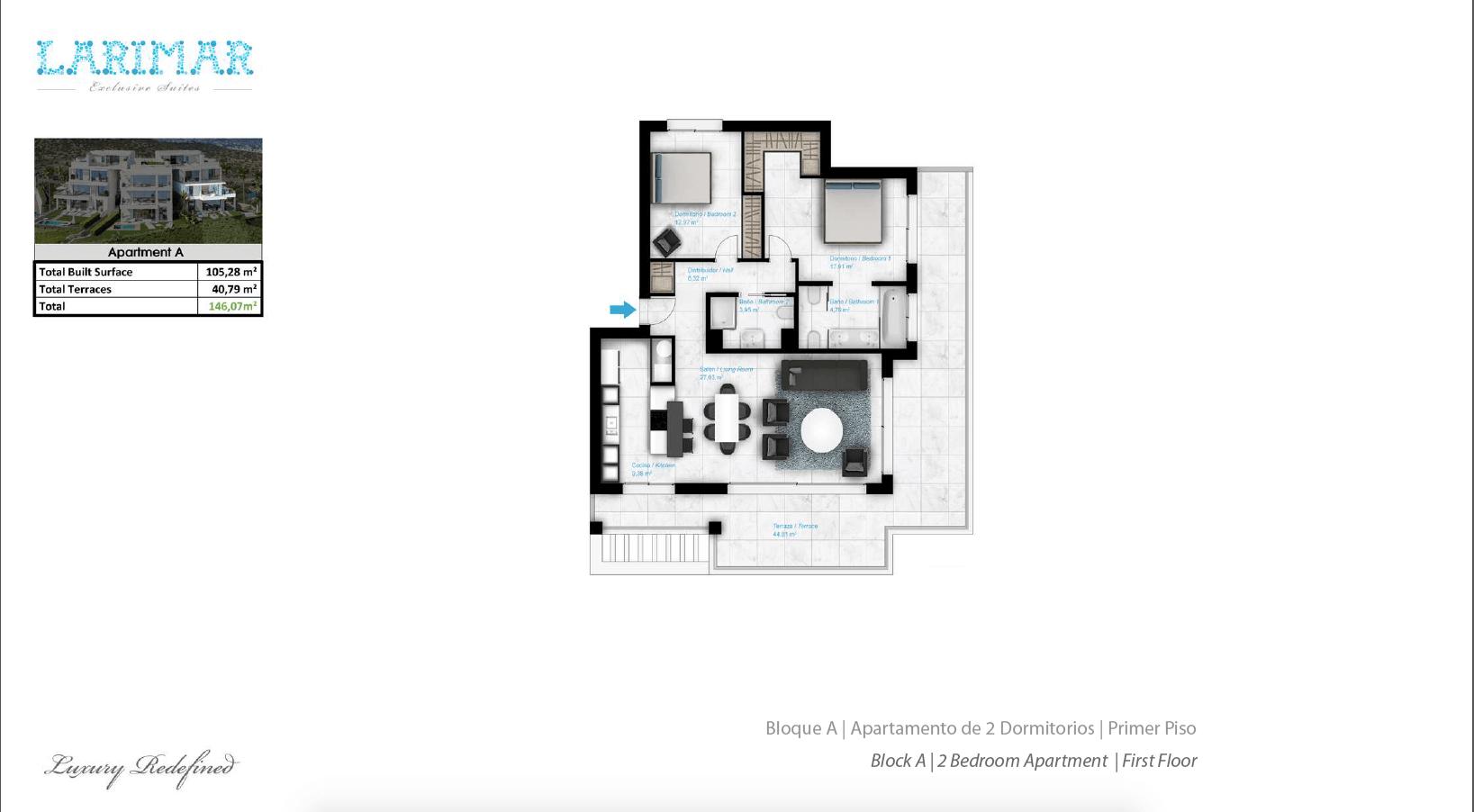 Larimar Las Lagunas de Mijas luxe appartementen te koop zeezicht grondplan tussenverdieping A