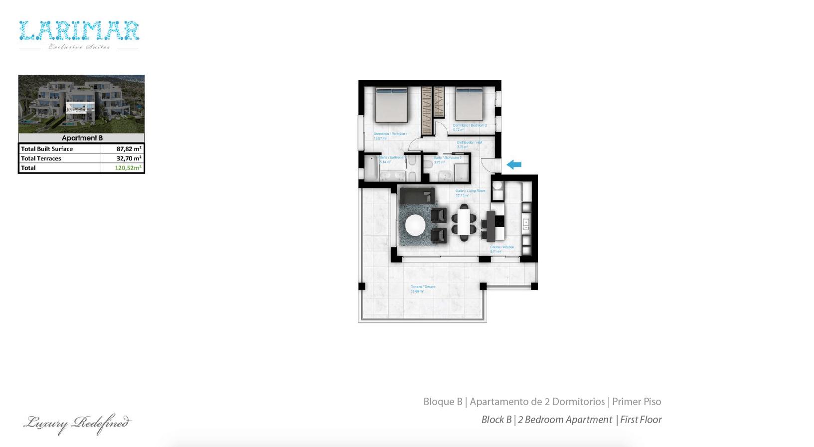 Larimar Las Lagunas de Mijas luxe appartementen te koop zeezicht grondplan tussenverdieping B