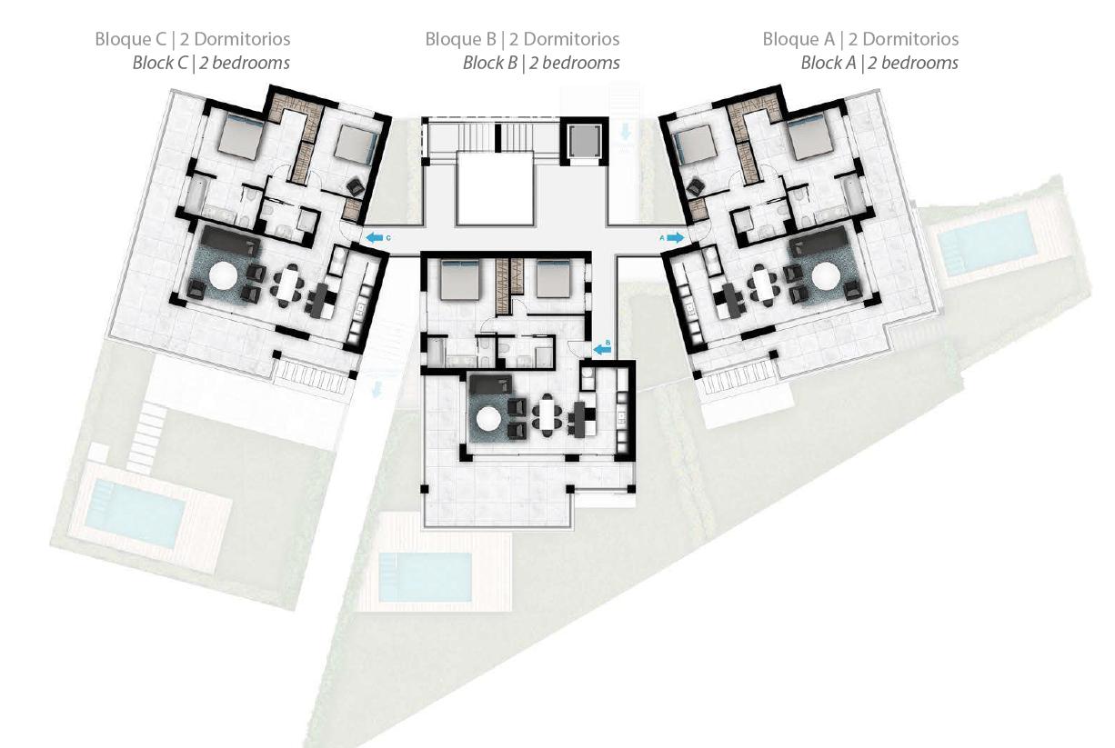 Larimar Las Lagunas de Mijas luxe appartementen te koop zeezicht grondplan tussenverdiepingen