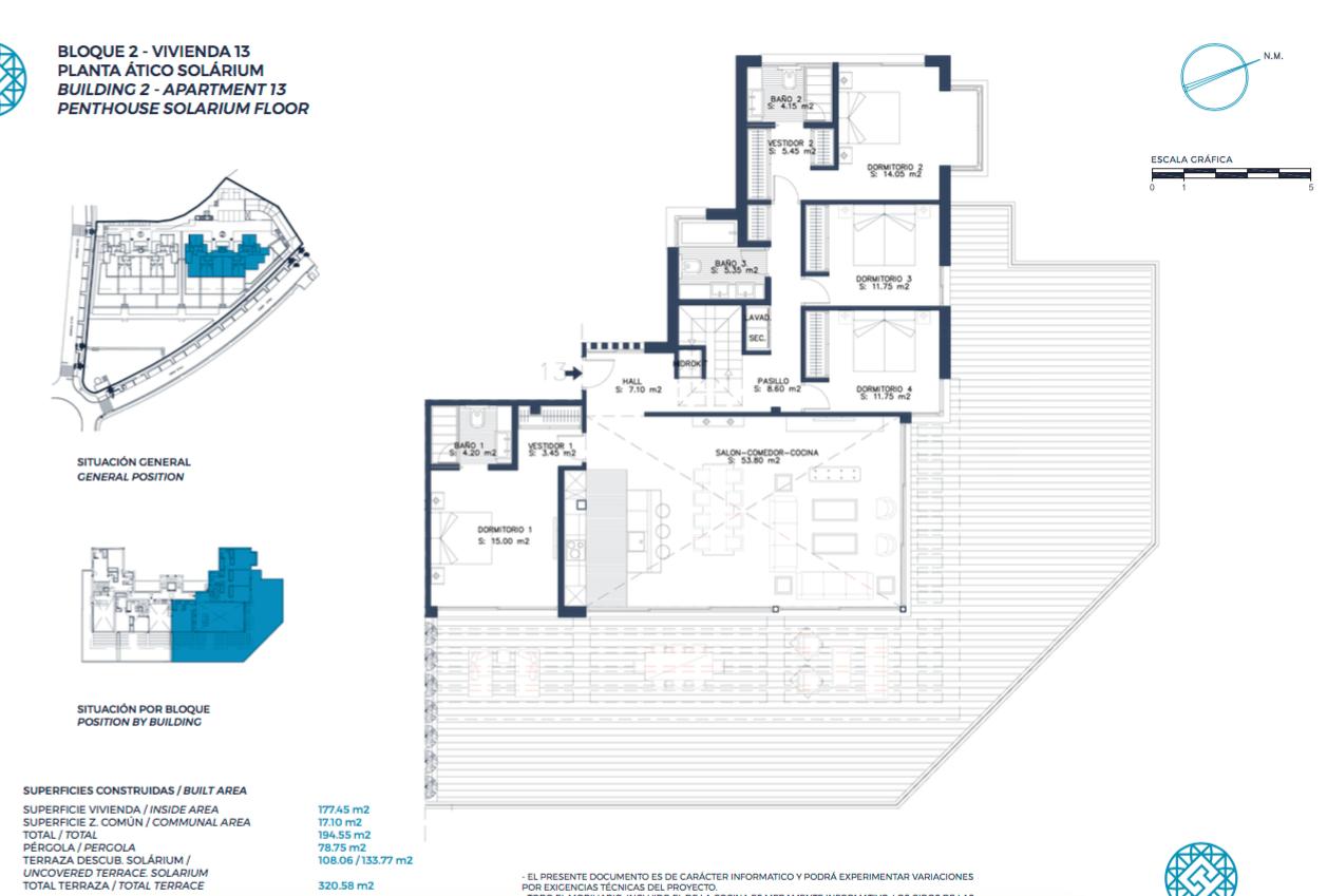 el campanario hills estepona modern appartement te koop grondplan penthouse 2 slaapkamers
