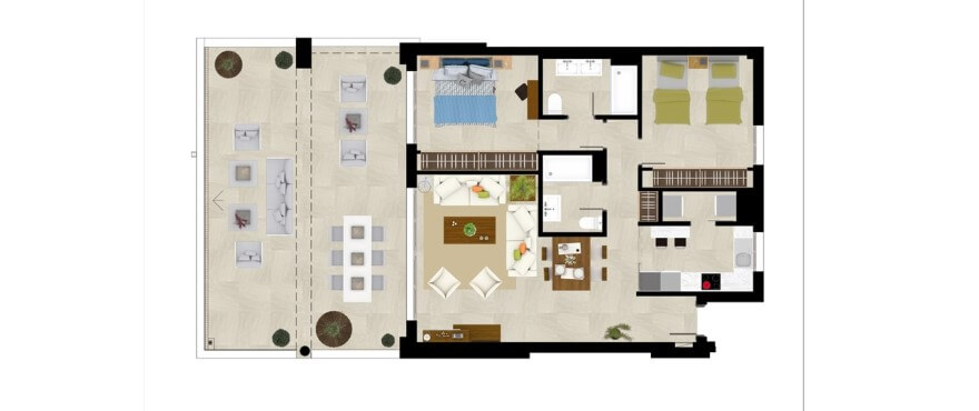 grand view la cala golf marbella oost appartement kopen grondplan 2 slaapkamers