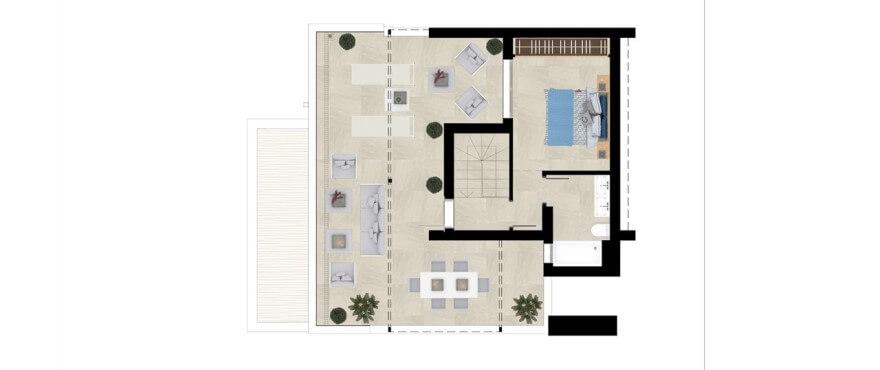 grand view la cala golf marbella oost appartement kopen grondplan 3 slaapkamers duplex