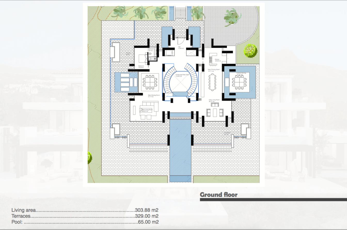 los almendros benahavis luxe moderne villa kopen design grondplan gelijkvloers