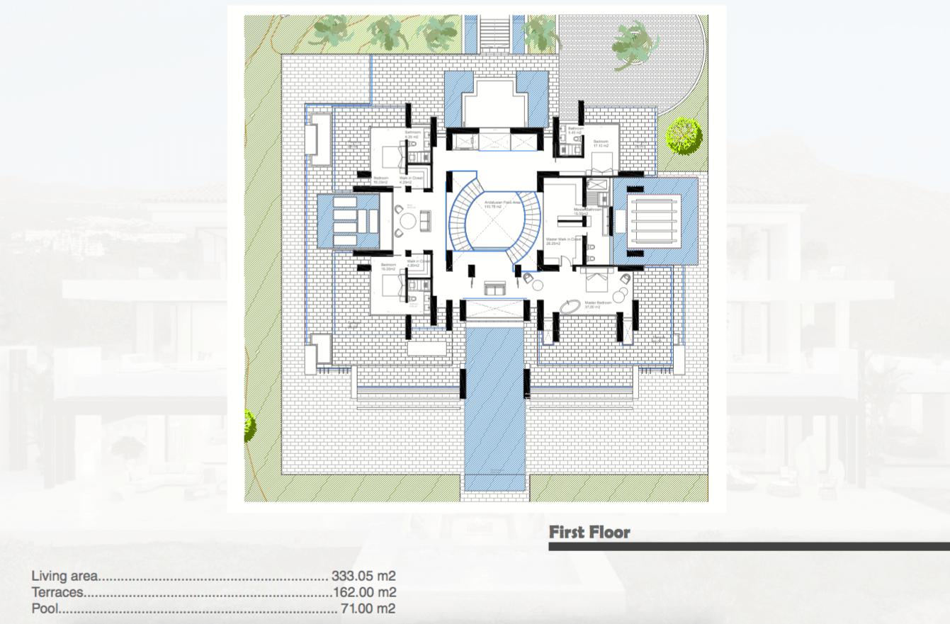 los almendros benahavis luxe moderne villa kopen design grondplan verdieping