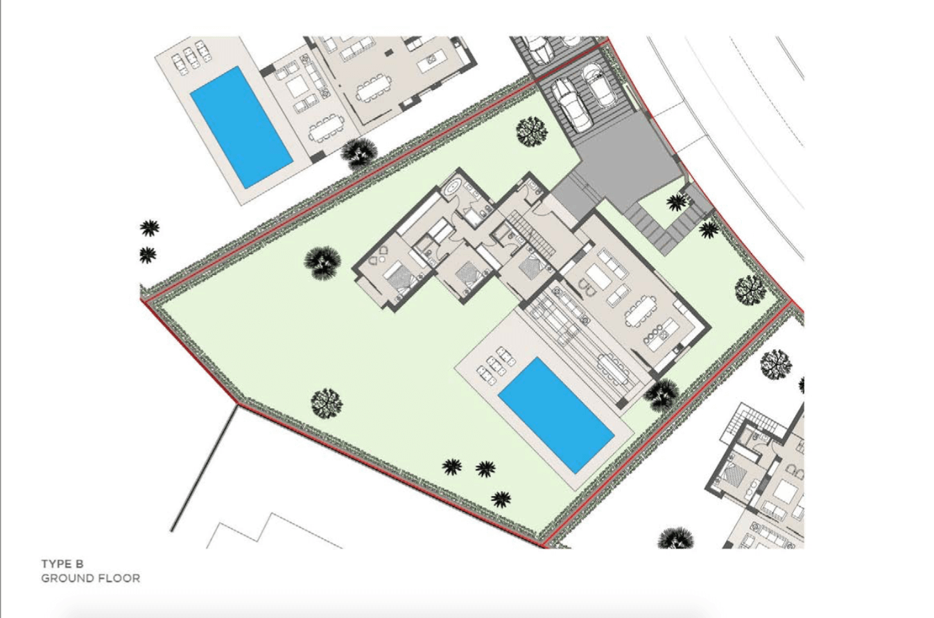 los olivos del paraiso benahavis moderne nieuwbouw villa te koop grondplan type b gelijkvloers