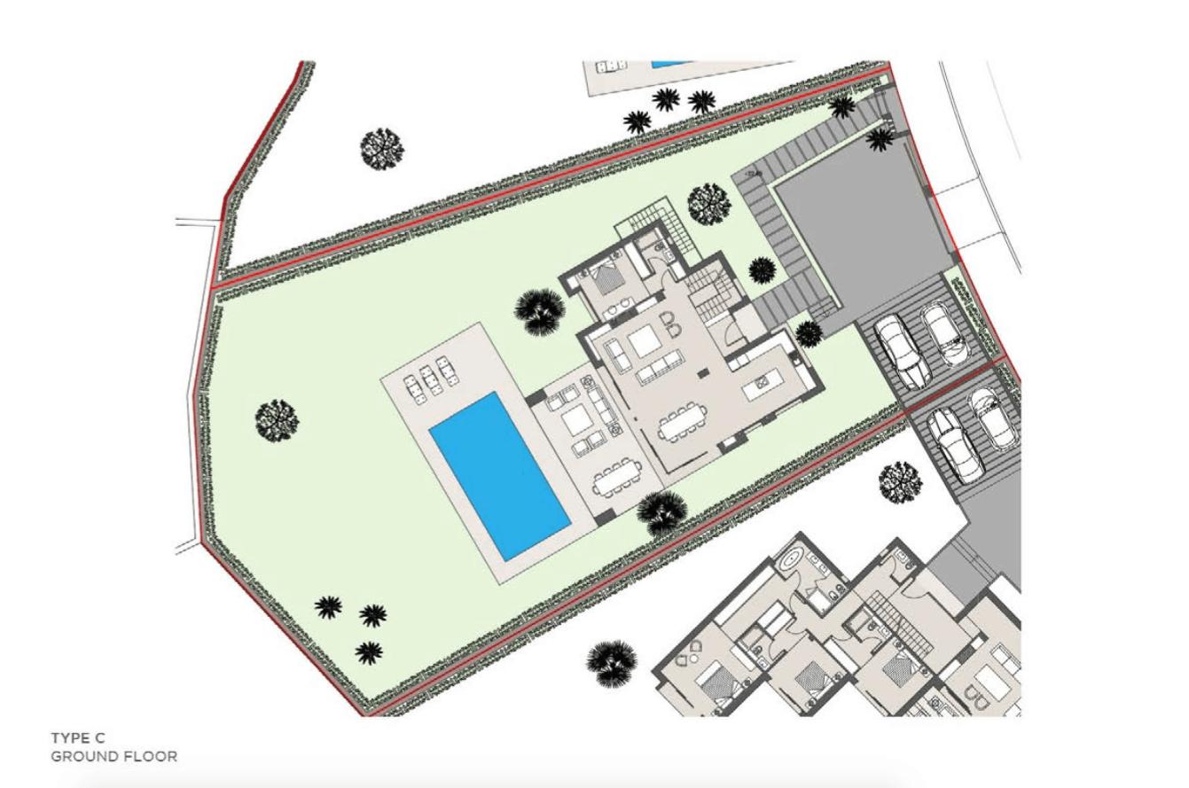 los olivos del paraiso benahavis moderne nieuwbouw villa te koop grondplan type c gelijkvloers