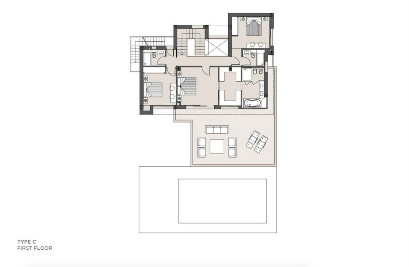 los olivos del paraiso benahavis moderne nieuwbouw villa te koop grondplan type c verdieping