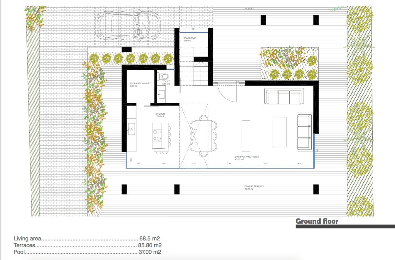 nieuwbouw villa te koop linda vista san pedro marbella grondplan gelijkvloers