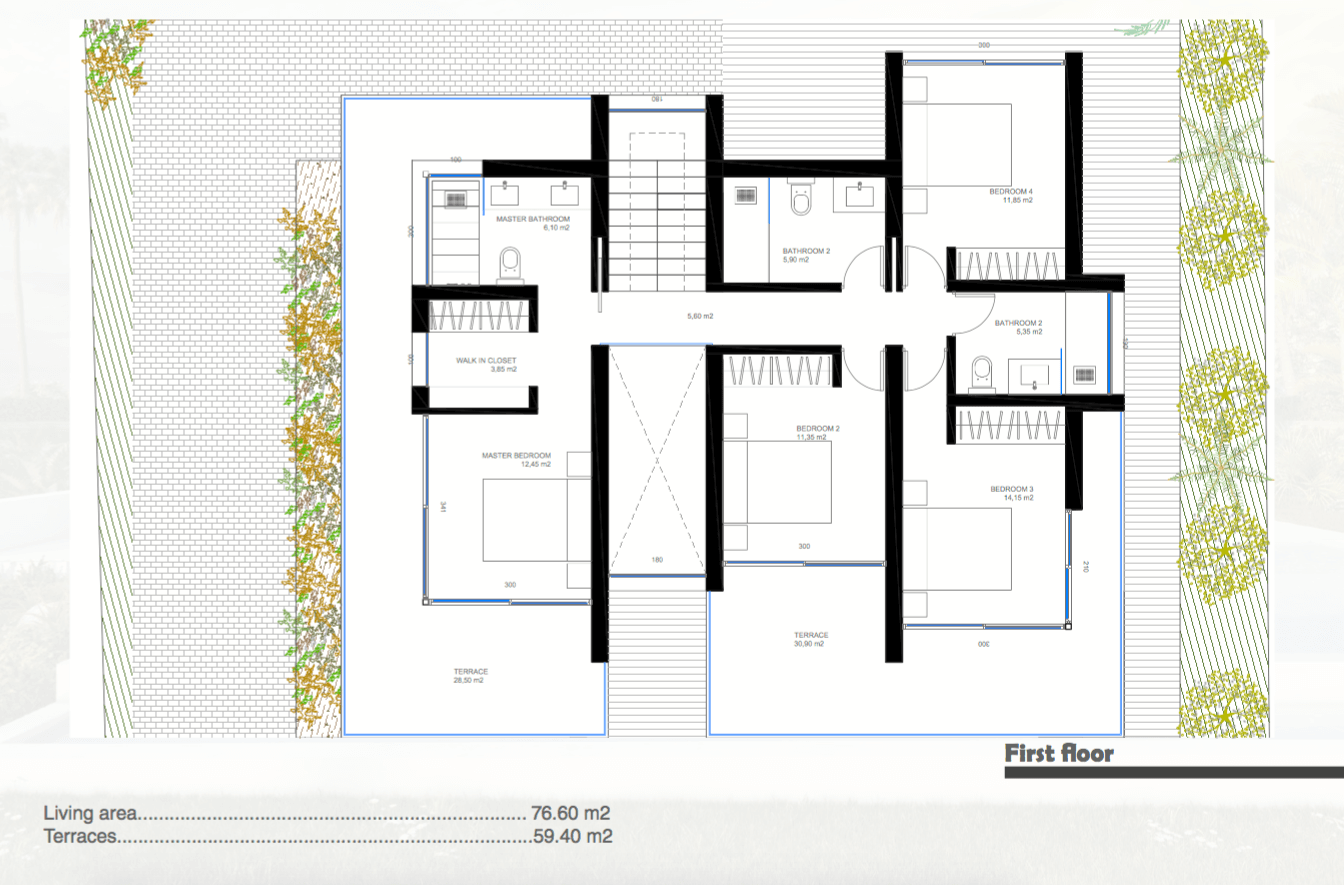 nieuwbouw villa te koop linda vista san pedro marbella grondplan verdieping