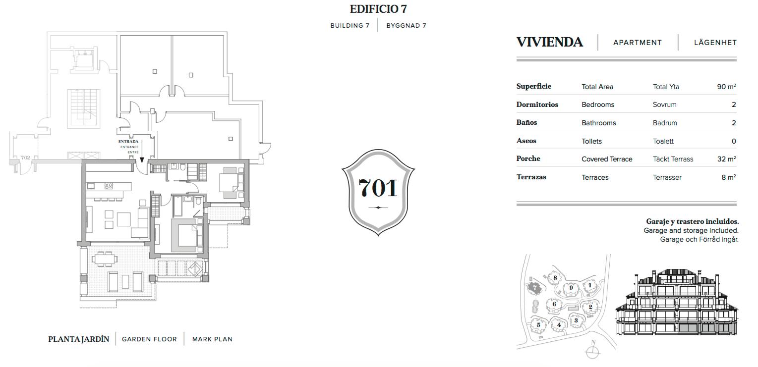 nine lions residences appartementen penthouses te koop nueva andalucia grondplan 2 slaapkamers