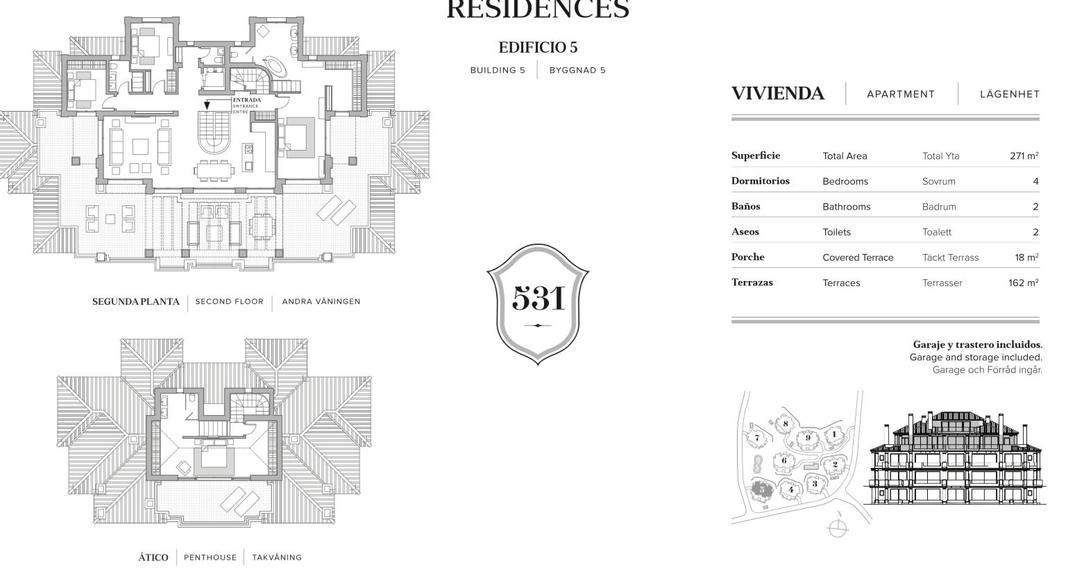 nine lions residences appartementen penthouses te koop nueva andalucia grondplan penthouse 4 slaapkamers