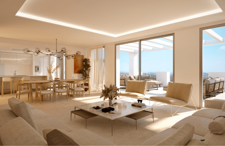 nine lions residences appartementen penthouses te koop nueva andalucia salon keuken