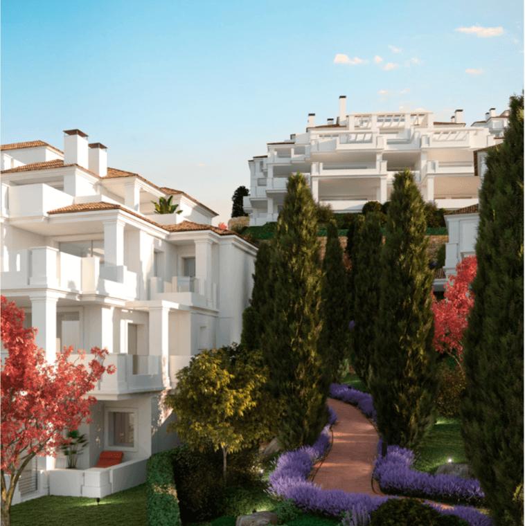 nine lions residences appartementen penthouses te koop nueva andalucia tuin