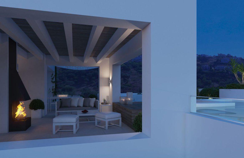 unico benahavis modern nieuwbouw appartement te koop zeezicht avond