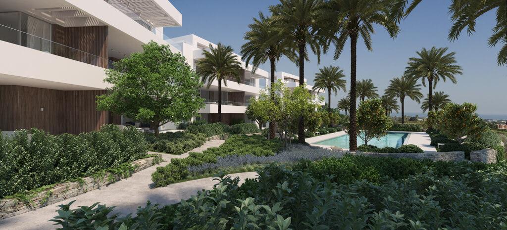unico benahavis modern nieuwbouw appartement te koop zeezicht gemeenschappelijk zwembad