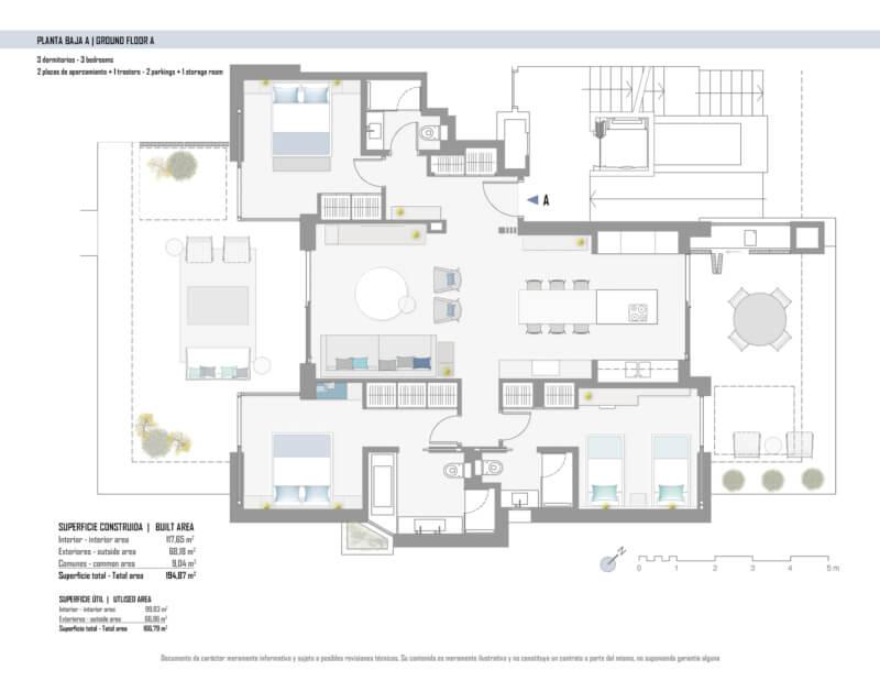 unico benahavis modern nieuwbouw appartement te koop zeezicht grondplan gelijkvloers