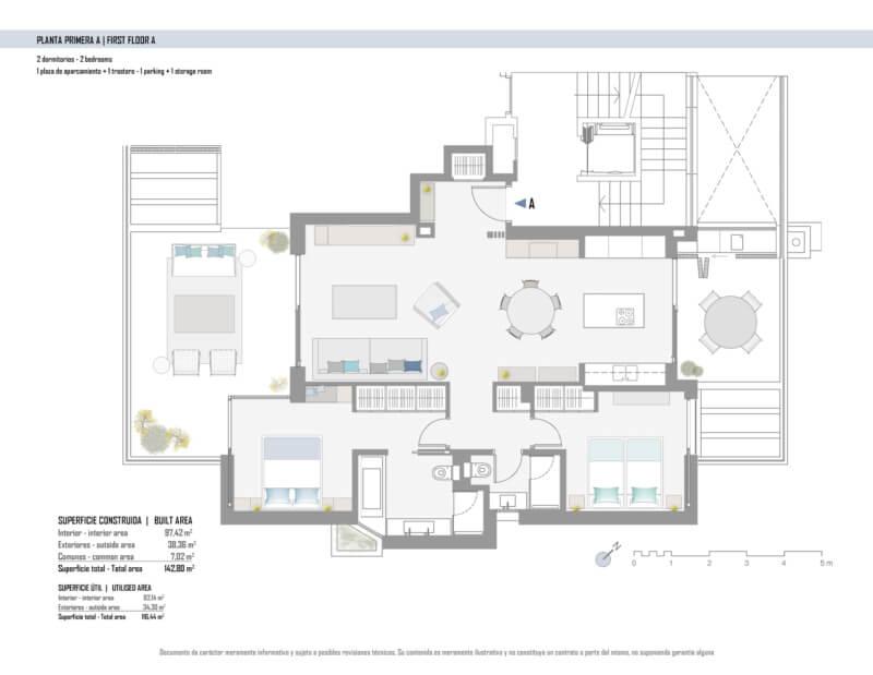 unico benahavis modern nieuwbouw appartement te koop zeezicht grondplan verdieping