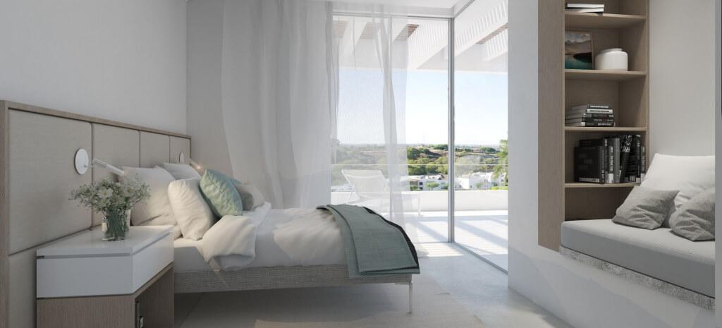 unico benahavis modern nieuwbouw appartement te koop zeezicht slaapkamer