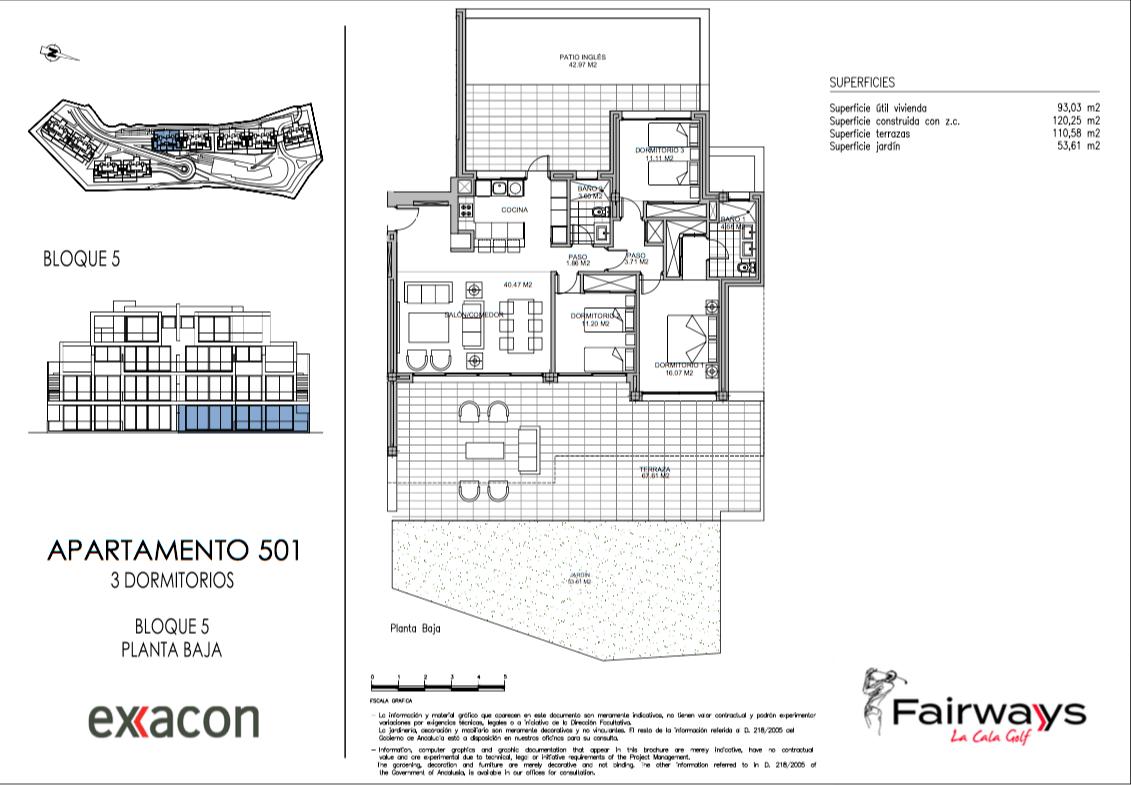 fairways la cala golf appartementen penthouses eerstelijns golf nieuwbouw grondplan gelijkvloers 3 slaapkamers