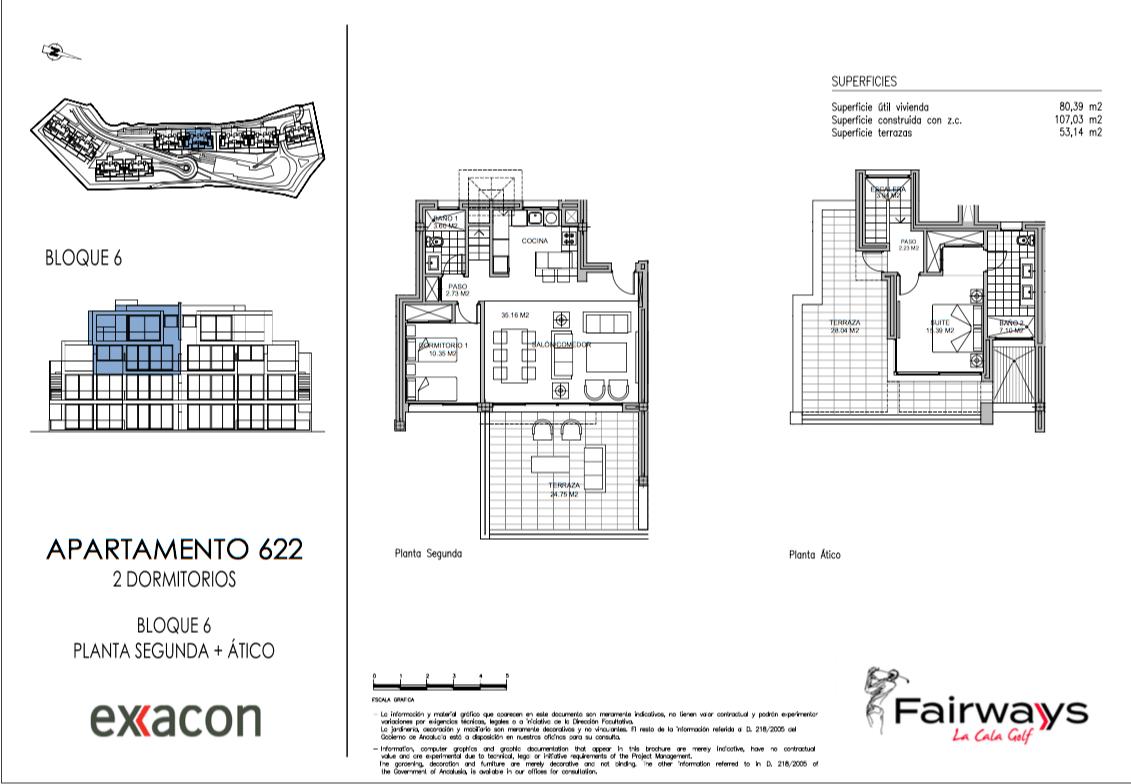 fairways la cala golf appartementen penthouses eerstelijns golf nieuwbouw grondplan penthouse duplex 2 slaapkamers