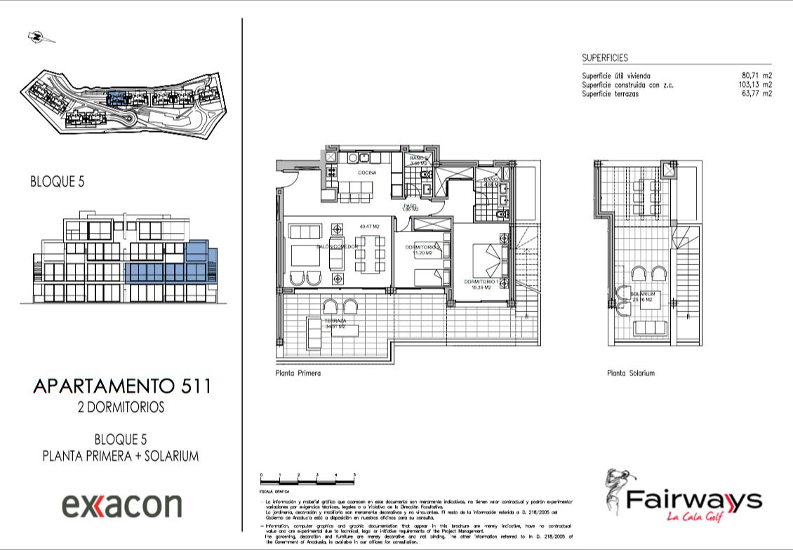 fairways la cala golf appartementen penthouses eerstelijns golf nieuwbouw grondplan tussen duplex 2 slaapkamers