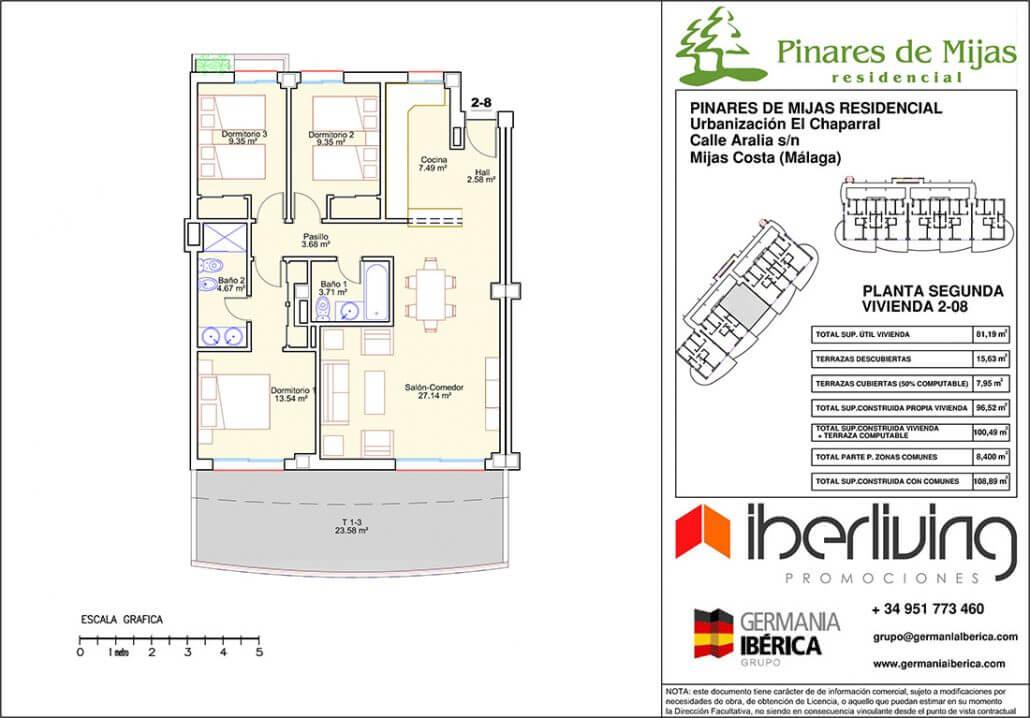 pinares de mijas nieuwbouw kopen grondplan tussenverdieping 1