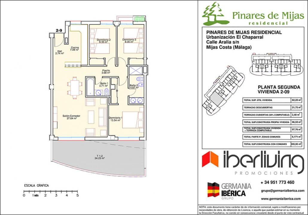 pinares de mijas nieuwbouw kopen grondplan tussenverdieping 2