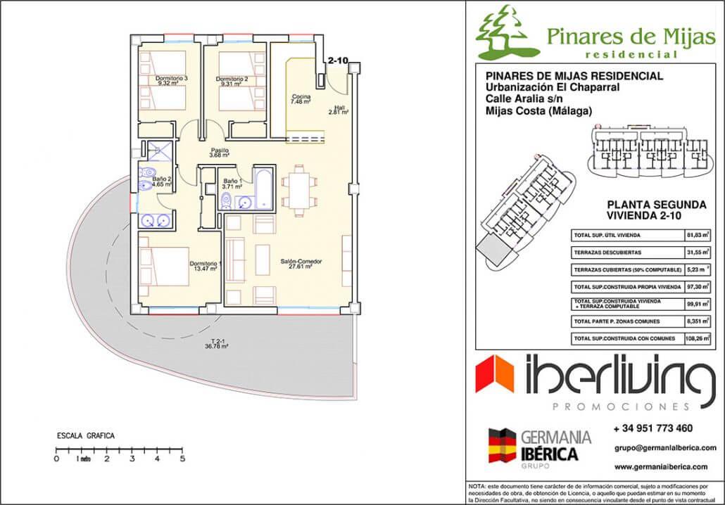 pinares de mijas nieuwbouw kopen grondplan tussenverdieping 3