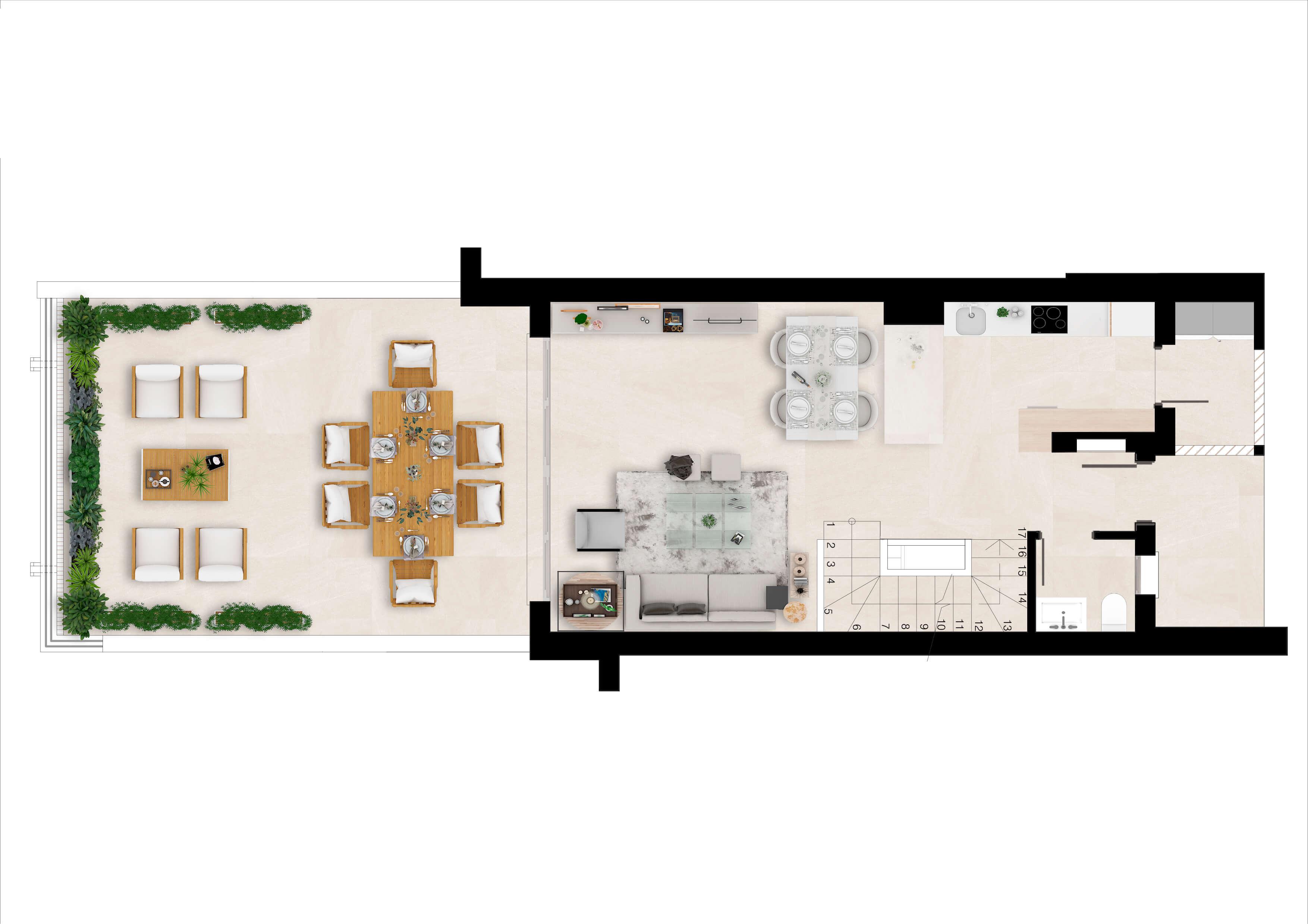 green golf moderne geschakelde huizen townhouses estepona eerstelijns golf te koop grondplan gelijkvloers