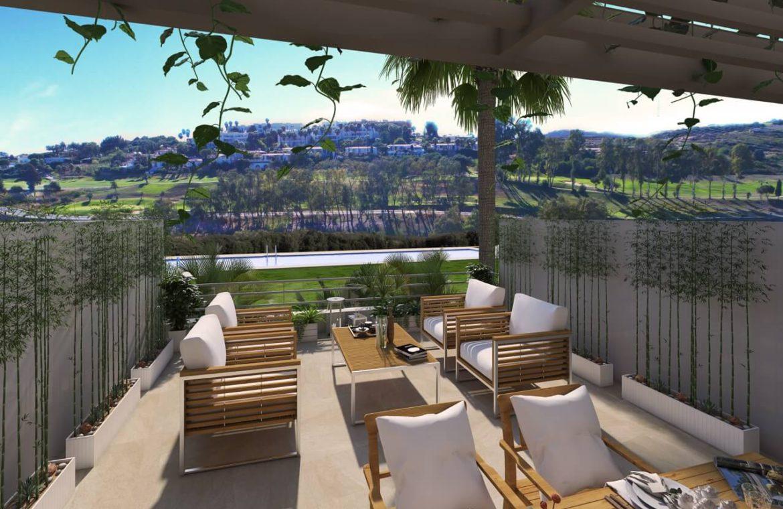 green golf moderne geschakelde huizen townhouses estepona eerstelijns golf te koop terras