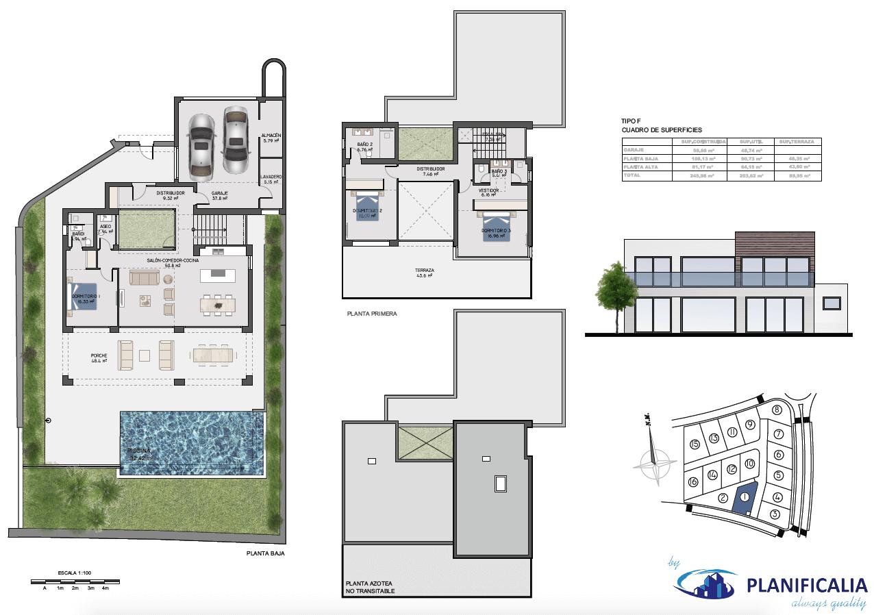 la cala views mijas costa villa modern nieuwbouw kopen zeezicht grondplan villa1