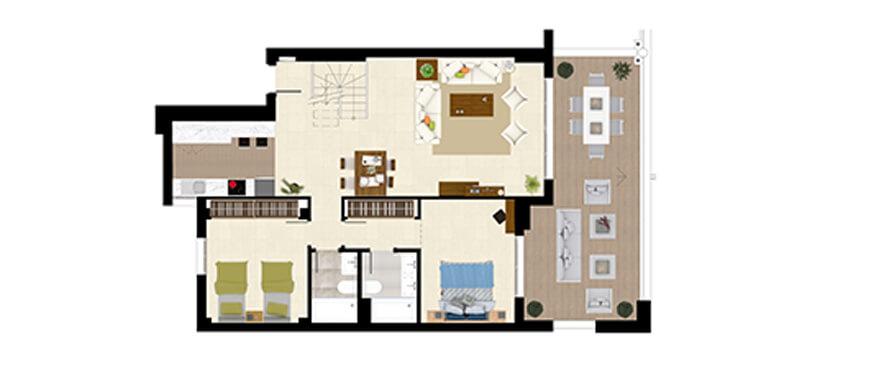 royal banus nueva andalucia taylor wimpey nieuwbouw te koop wandelafstand zee grondplan penthouse 2bed