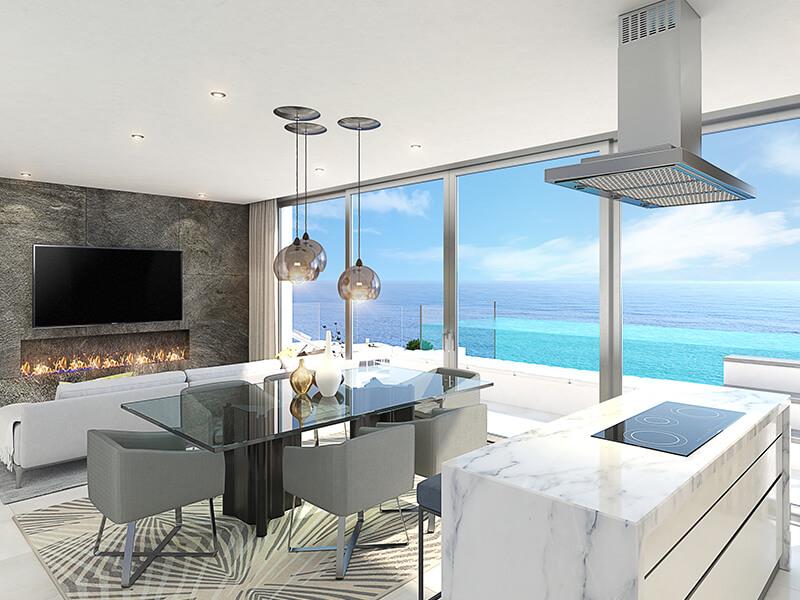 santa barbara heights mijas costa strand zeezicht resort concierge nieuwbouw te koop eethoek